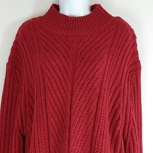 Essentials by ABS Deep Red Textured Plus Sweater